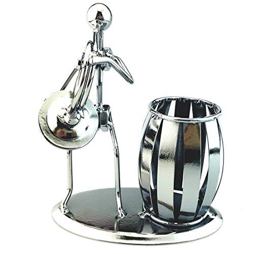 AblueA Pencil Holder Metal Pen Cup Holder Desktop Organizer for Office Supplies (Musical Instrument - French Horn)
