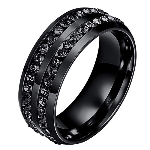 Mens Wedding Bands Classic 8MM Titanium Stainless Steel Plated 18K Black Tungsten Gold Double Row CZ Crystal Womens Promise Anniversary Rings High Polished Finish Comfort Fit Size 6 ()