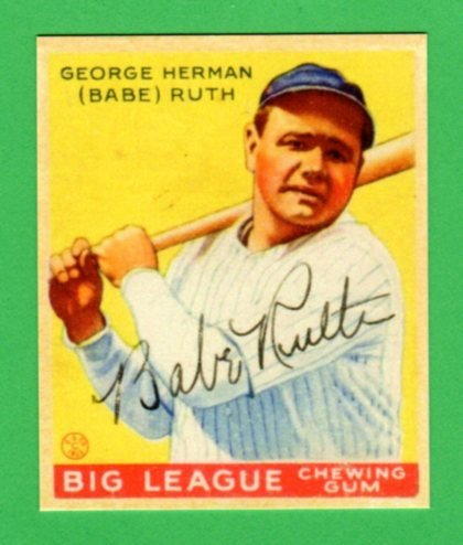Babe Ruth 1933 Goudey Baseball Reprint Card #53 (w/Facsimile for sale  Delivered anywhere in USA