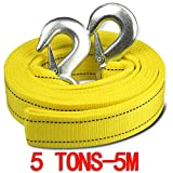 Car Tow Rope Straps with Hooks-- 5 Tons 11000LBS - 5 Meters(16.4') with Vehicle Storage Bag High Strength Emergency Towing Rope Cable Cord Heavy Duty Recovery Securing Accessories for Cars Trucks