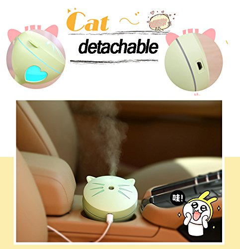 Mini Cool Mist Humidifier,Cute Cat Style Removable USB Desktop Air Humidifier Mini USB Portable Air Humidifiers with Seven Color Night lamp For Home, Office, Bedroom, Baby Room and Cars (Pink) by ODCOLTD (Image #5)