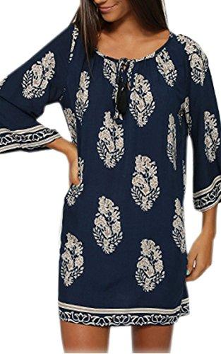 Zeagoo femmes d'été v-cou dentelle robe de soirée mini robe d'impression florale