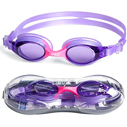 COPOZZ Kids Swimming Goggles, Child (Age 4-12) Waterproof Swim Goggles Clear Vision Anti Fog UV Protection No Leak Soft Silicone Frame for Kid Toddler Boys Girls (K3-Purple)