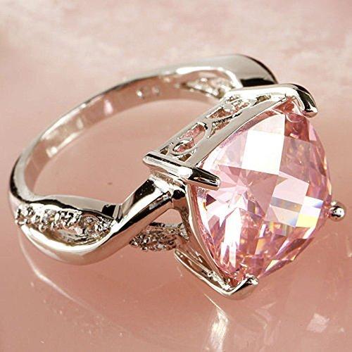 Nongkhai shop Pink & White Gemstone Fashion Jewelry Women Gift Silver Ring Size 6 7 8 New (6)