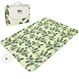 Large Waterproof Outdoor Blanket by MIUCOLOR, Sandproof Picnic Blanket for Camping Hiking Grass Travelling - Green Leaves -Triple Layers ()