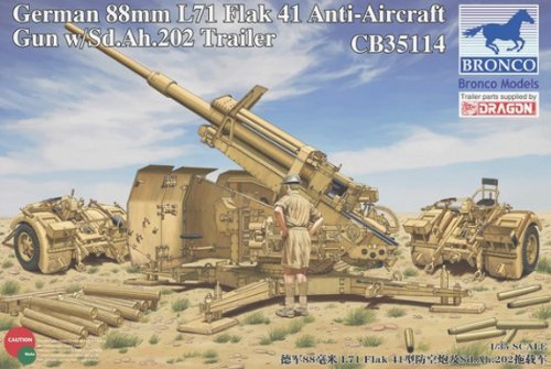 Bronco German 88mm L71 Flak 41 Anti-Aircraft Gun with Sd.Ah.202 Trailer 1:35 Scale Military Model Kit (Air Gun Anti Models)