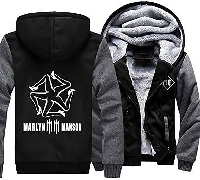 メンズフーディーフルジッパープリントマリリンマンソンベルベットパッド入りフード付きセーターコートフリースフーディー、冬に適しています