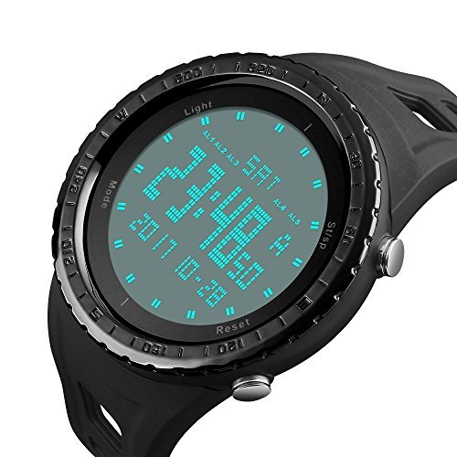 Men's Green Double Time Digital Sport Watch Green Military Army Large Face Dial LED Outdoor Athletic Marathon Electronic Thin Wrist Watches Waterproof Fashion Casual Tactical Stopwatch