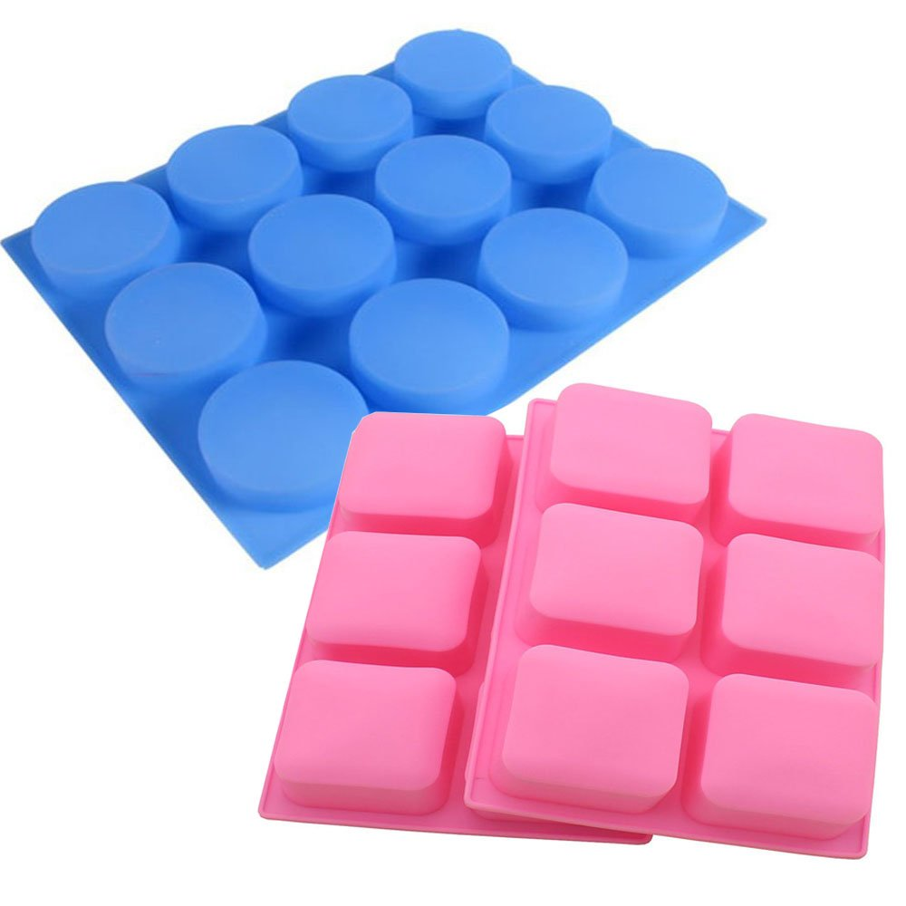 12 Round & 6 Square Soap Molds Handmade Making for soap Bar chocolate cake baking candle