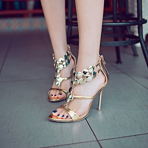 Sexy Paillettes Aiguilles Peep Femmes Dress Chaussures Talons Strappy Toe Nightclub Party Zipper Gold Court qwxdUUZEan