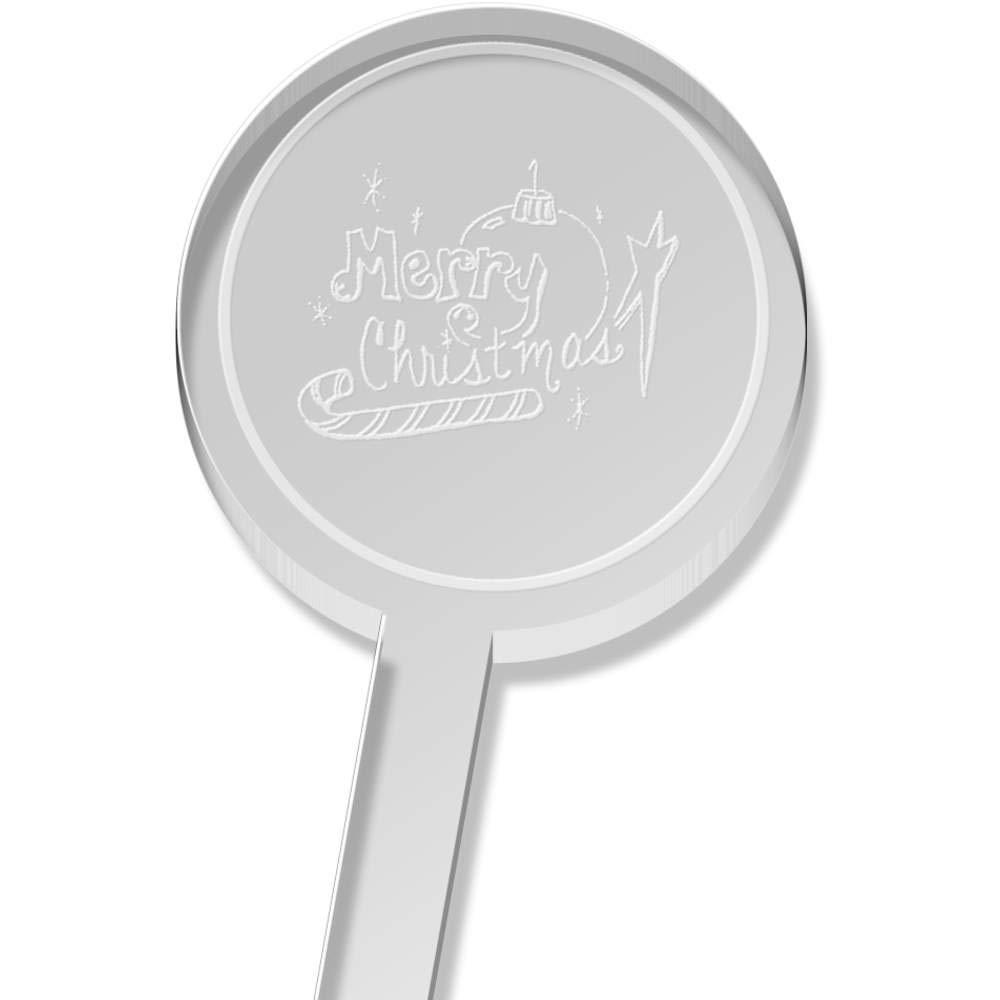 DS00023040 Swizzle Sticks Azeeda 10 x Merry Christmas Short Drink Stirrers
