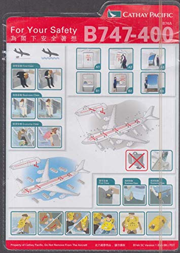 Cathay Pacific Airlines Boeing 747-200 Safety Instructions card ()