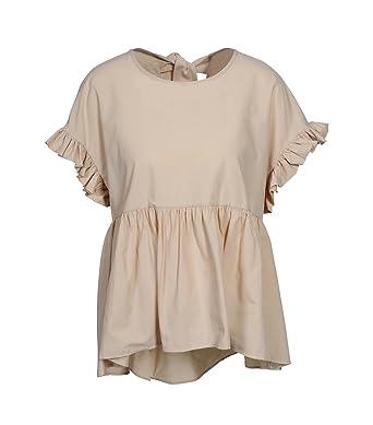 OTTOD AME Damen Kurzarm Bluse in Beige: : Bekleidung