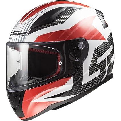 LS2 - Casco de moto (rejilla rápida), color blanco/negro/rojo, talla L