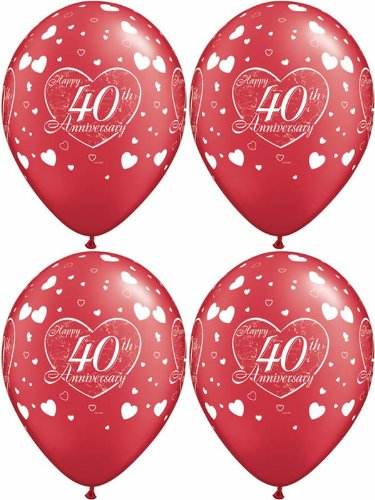 10 x 40th, Red & White, Ruby Happy Anniversary, Hearts Balloons - 11