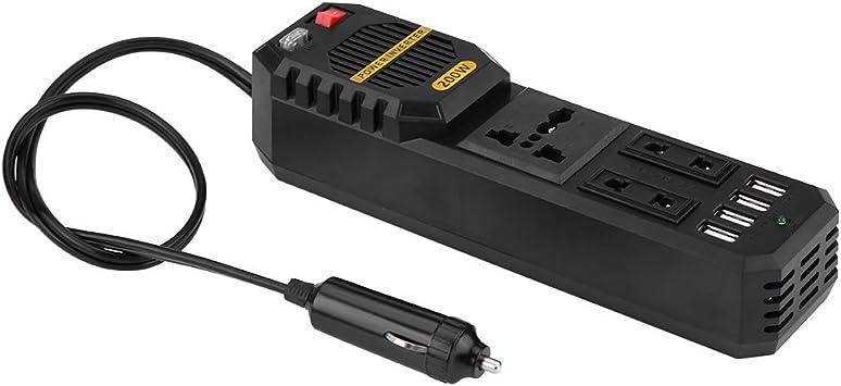 Qiilu 200 W Power Inverter, convertidor de Coche DC 12 V a AC 220 V W/Coche 4 Cargador USB Puerto de Carga Universal para Ordenador Portátil, Smart Phone: Amazon.es: Electrónica