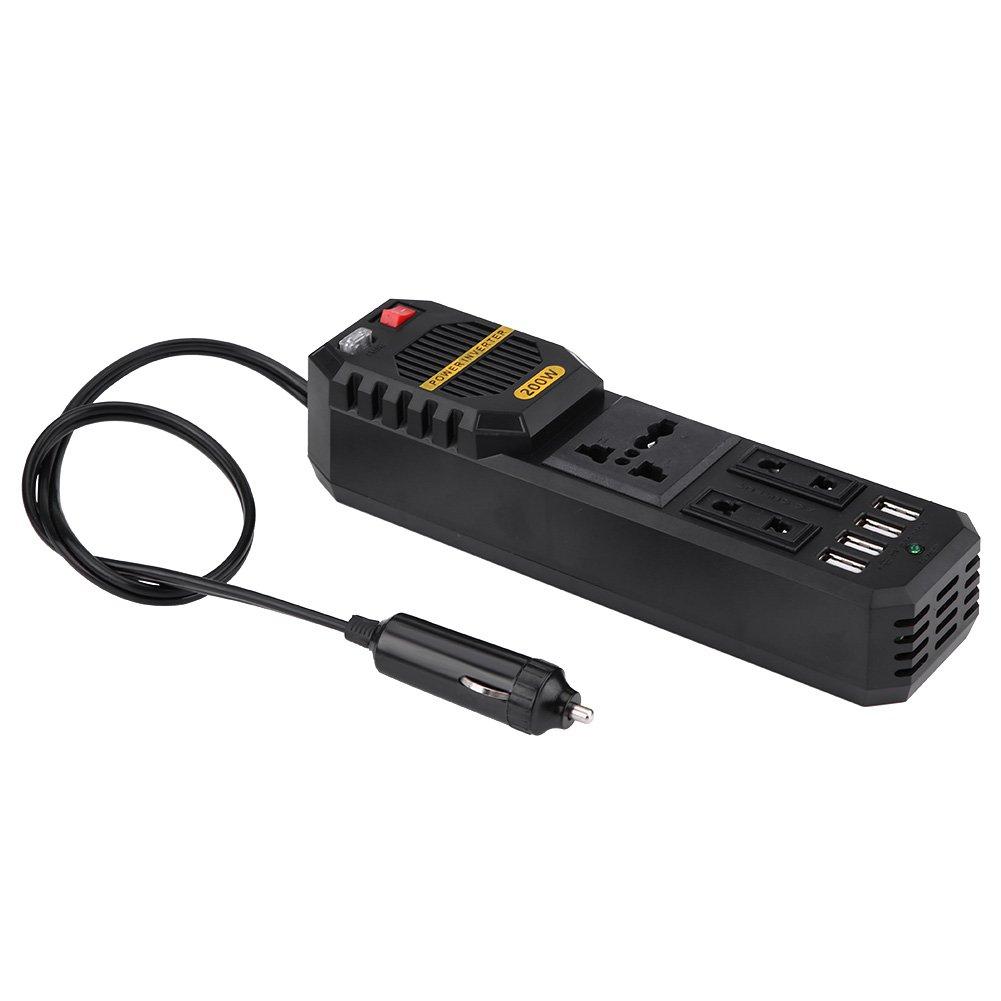 200W Power Inverter, DC 12V to AC 220V Car Power Inverter with 4 USB Port Cigarette Lighter