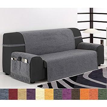 Jarrous Funda Cubre Sofá Modelo Calpe, Color Gris, Medida 3 Plazas – 170cm de Respaldo