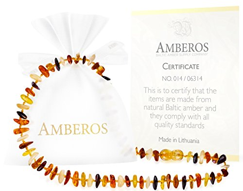 Amber Teething Necklace for Babies (Unisex) – Anti Flammatory, Drooling & Teething Pain Reduce Properties – Certificated Natural Oval Baltic Jewelry with the Highest Quality Guaranteed.