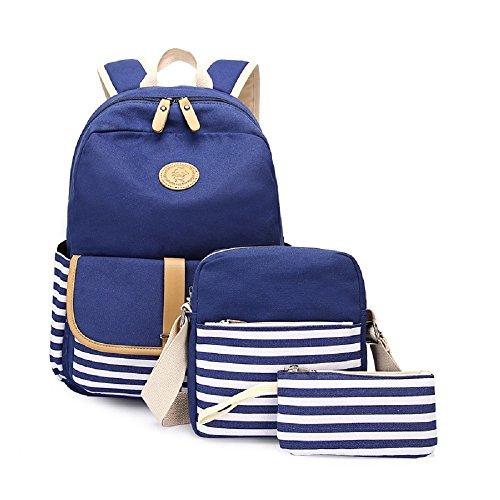 Stripe Kids Messenger (Canvas School Bag Set, Backpack + Messenger Bag + Purse/ Pencil Case, Zipper College Laptop Backpacks for Teenagers Girls Kids (Stripe - Blue))