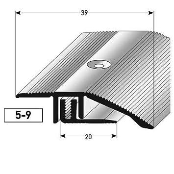 Perfil de desnivel laminado / parquet, 5 - 9 x, 39 mm, Aluminio anodizado - color: acero inoxidable Auer