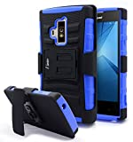 Coolpad Rogue Case, Nagebee - Heavy Duty Hybrid Armor Dual Layer Rhino Kickstand Belt Clip Holster Combo Rugged Case for Coolpad Rogue (Holster Combo Blue)