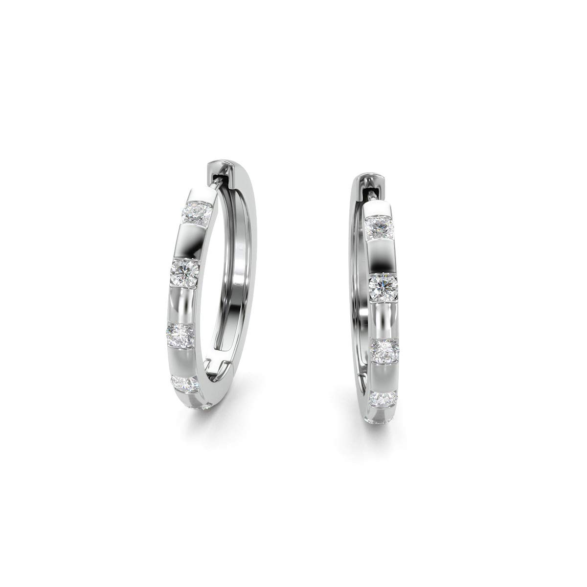0.35TCW Real Round Diamond Hoop Earring 14K White Gold I//H Color