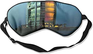 100% Silk Sleep Mask Eye Mask Rainbow Burj Al Arab Soft Eyeshade Blindfold with Adjustable Strap for Sleeping Travel Work Naps Blocks Light Wdskbg