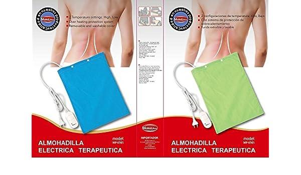 Almohadilla térmica Electrica terapeutica, calienta 40 w con 2 niveles de potencia. (azul, 30_cm): Amazon.es: Hogar