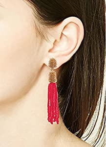 VK Accessories Bead Fringe Dangle Earrings Soriee Drop Earrings Beaded Tassel Ear Drop 3 Colors