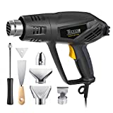 Heat Gun, TECCPO 1500W/12.5A Electric Hot Air Gun with 3-Temp Mode 0℉~1022℉ for Crafts, Shrink Wrapping, Tubing and Paint Remover, 1-min Shutdown (Auto-cooling), 6 Stainless Steel Accessories Included