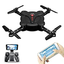 FQ777 FQ17W Pocket Drone Foldable WIFI FPV Drone With Camera RC Quacopter Aircraft Remote & APP Control Headless Mode Altitude Hold Mode With Remote Controller - Black