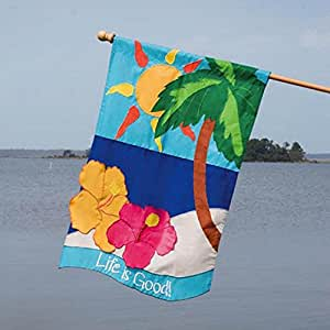 """Brightly Colored """"Life is Good"""" Outdoor Garden Flag 28"""" x 44"""""""