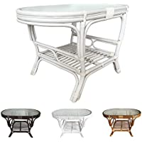 Rattan Oval Coffee Table Alisa with Glass Top (White Wash)