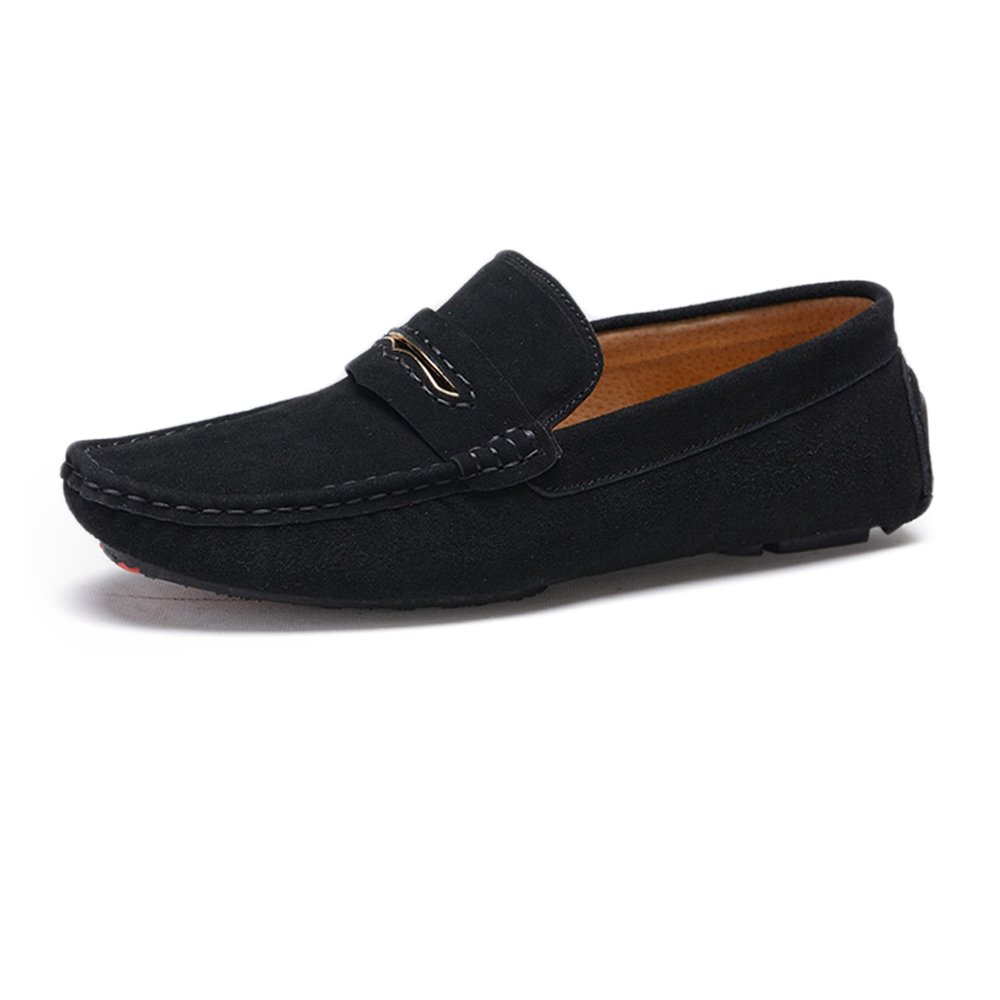 Black Z.L.F Oxford shoes for Men Driving Penny Moccasins Classic Suede Genuine Leather Soft Rubber Sole Loafers