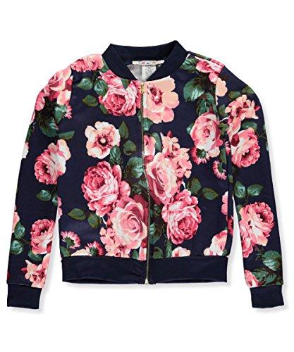 """Price comparison product image Boho Girlz Baby Girls' """"Flower Power"""" Flight Jacket - navy, 10-12"""