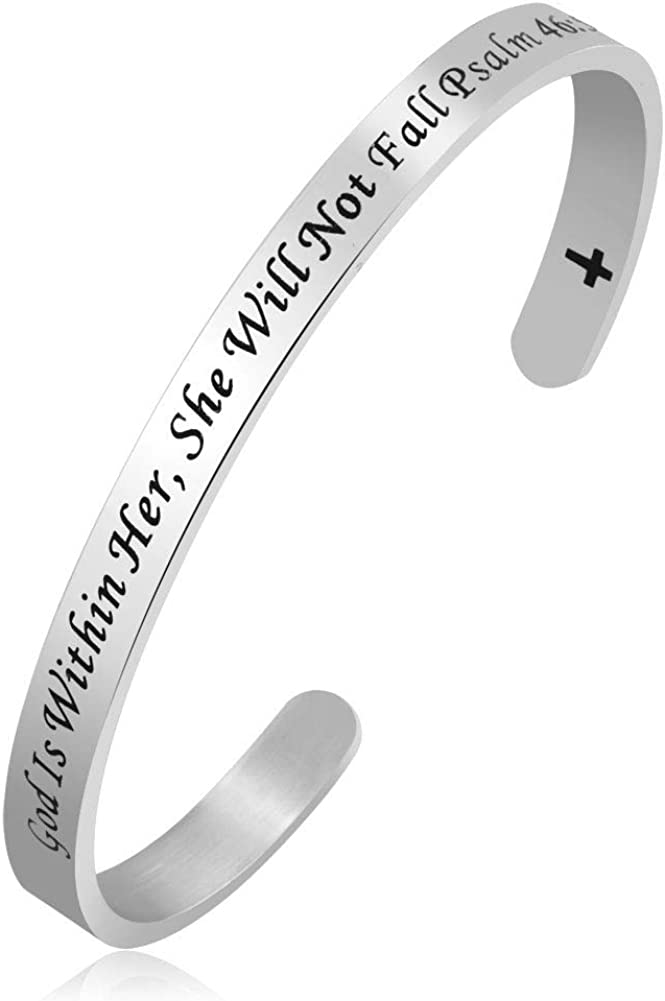 Infinite Memories Cuff Bangle Bracelet for Women with Christ Cross Holy Bible Isaiah Proverbs Paslm Matthew Philippians