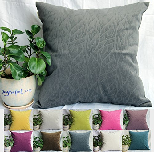 TangDepot Solid Velvet Decorative Pillow Covers/Euro Pillow Shams, Super Soft Velour, Micro Embossed Leaf Texture and Shape - (14