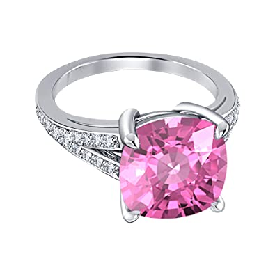 Engagement 4 Prong Halo Ring 4 00ctw Cushion Cut Pink Sapphire Cz