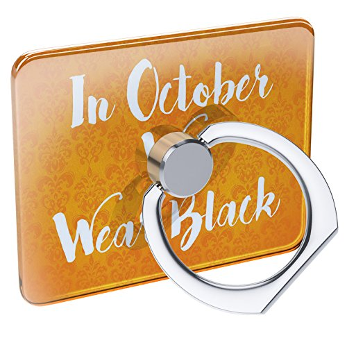 Cell Phone Ring Holder in October We Wear Black Halloween Orange Wallpaper Collapsible Grip & Stand -