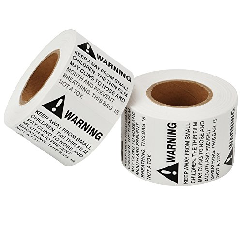 MFLABEL 2 Rolls 2 x 2 Suffocation Warning Labels Peel & Stick FBA Labels Stickers - 1,000 labels