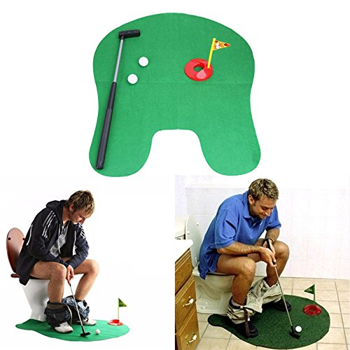 Potty Putter Toilet Golf Game Mini Golf Set Toilet Golf Putting Green Novelty Game Toy Gift for Men and (Boogie Man Costume)