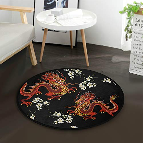 ALAZA Chinese Japanese Dragon Flower Round Area Rug for Living Room Bedroom 3' Diameter(92 cm)