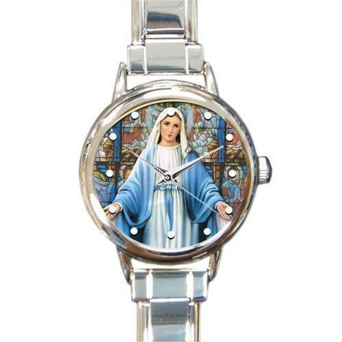 Special Design Renaissance Collection, Holy and Miraculous Mother of God, Blessed Virgin Mary, Catholic Religious Gift Round Italian Charm Watch