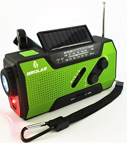 BROLAR-Emergency-Solar-Hand-Crank-Radio-Self-Powered-AMFM-NOAA-Weather-Radio-Survival-LED-Flashlight-Smart-Phone-Charger-2000mAh-Power-Bank