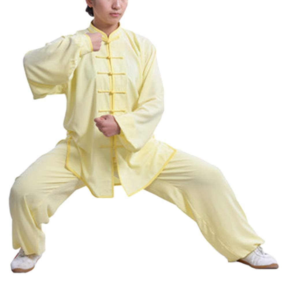 Tai Chi Uniforme Hebilla Collar de pie Mujeres Unisex de algodón Kung Fu Trajes Conjunto para Qi Gong