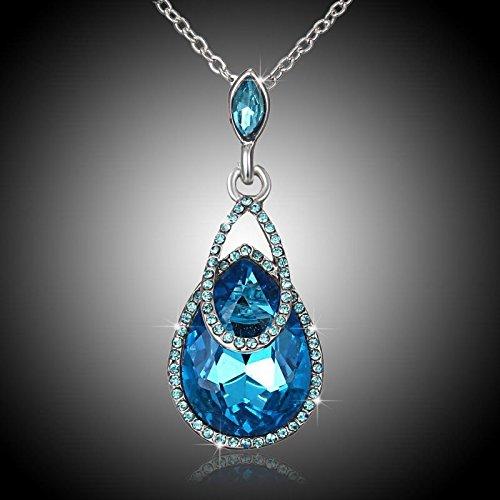 Tiffany Rose Bracelet (Meenanoom Fashion Women Waterdrop Crystal 18K CZ Silver Rose Gold Pendant Necklace Jewelry)