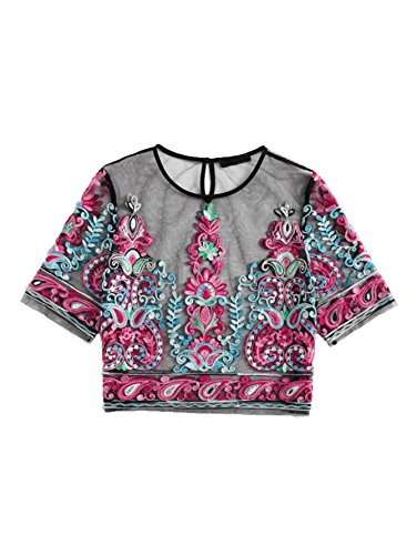 MAKEMECHIC Women's Embroidered Applique Sheer Mesh Blouse Top 10-Multicolor S ()
