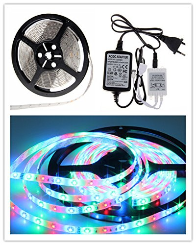 Corcrest(TM) New 5M RGB Waterproof led Strip 3528 SMD 60led/m Flexible + 24key Remote + 12V Transformer For Home Decoration by Corcrest (Image #2)