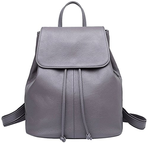 Genuine Leather Backpack for Women Elegant Ladies Travel School Shoulder Bag (Grey)